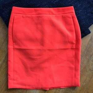 J.Crew Neon Orange Pencil Skirt